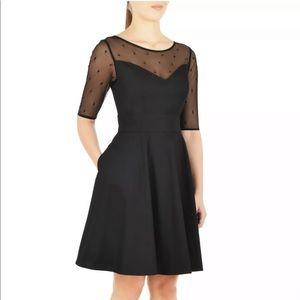 eShakti Black Retro Mesh Sleeve Dress w/ Pockets